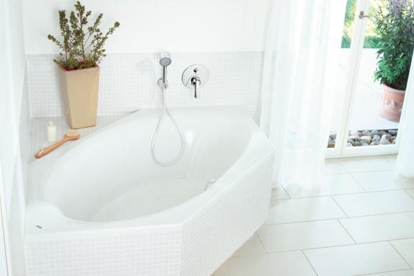 sechseck -badewanne-weiße-ausstattung- dekorative grüne pflanze
