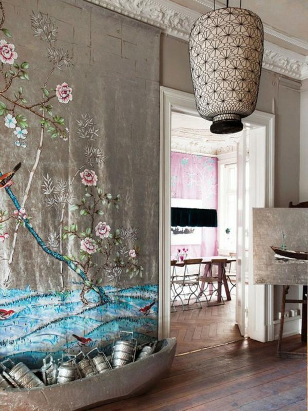 silberne-wandfarbe-interessanter-look - kreative gestaltung