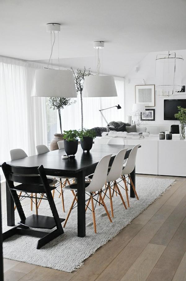 skandinavisches-design-für-esszimmer- weiß und schwarz