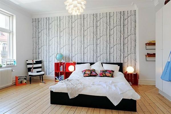 skandinavisches-design-für-schlafzimmer- eleganter kronleuchter