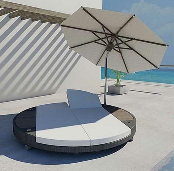 sonnenbett-Lounge-Terrassenmöbel-Sommer-Sonnenschirm
