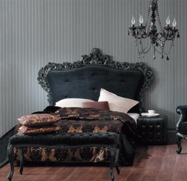 vintage-atmosphäre-im-schlafzimmer-mit-einem-lüster-in-schwarz