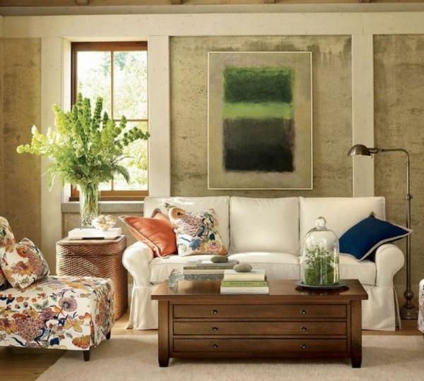 vintage- design möbel-modernes-sofa-weiss-mit-dem-Bild-an-der-Wand