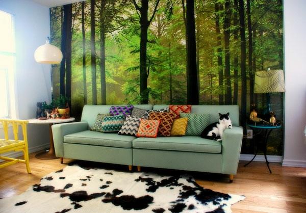 vintage- design möbel-retro-modern-mit-vielen-Kissen