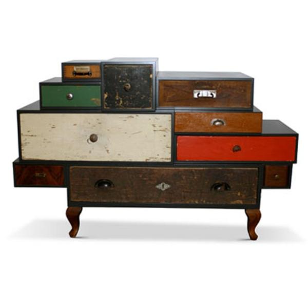 vintage- design möbel-schubladen-bunte-weiss-rot-braun