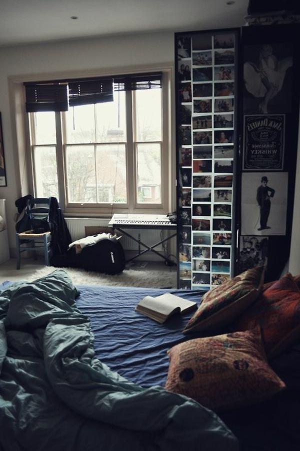 vintage- design möbel-zimmer-mit-dem-fenster-mit dme-buch-auf-dem-bett