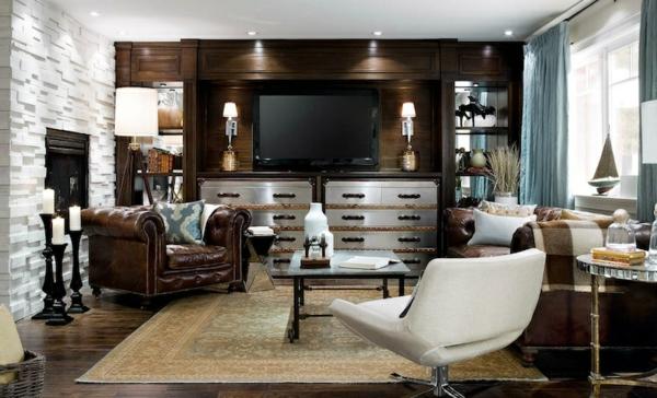 retro wohnzimmer:vintage-ledermöbel-im-großen-wohnzimmer- weißer stuhl im vordegrund