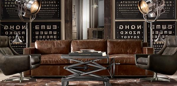 vintage-ledermöbel-sofa-im-wohnzimmer- interessante wandgestaltung