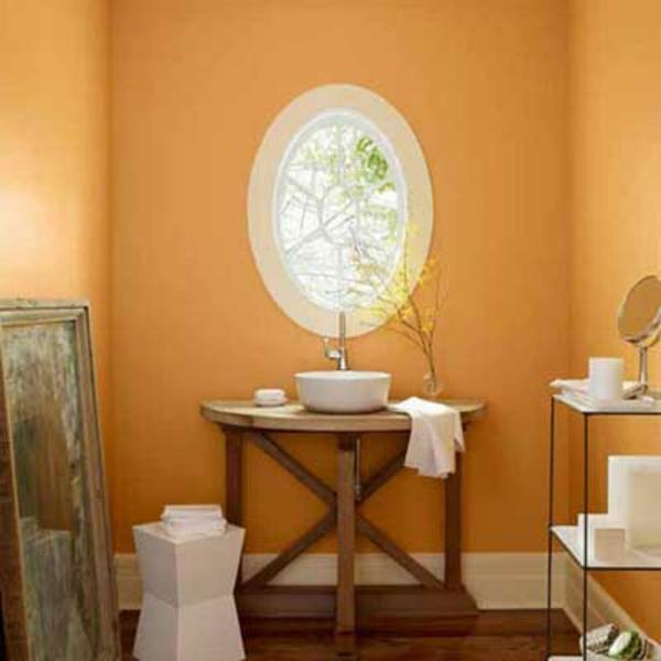 Wandfarbe Apricot Kleines Badezimmer Rundes Fenster