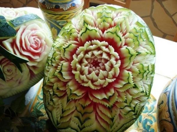 wassermelone-kunst-sdekoideen-für-tisch-Blumen
