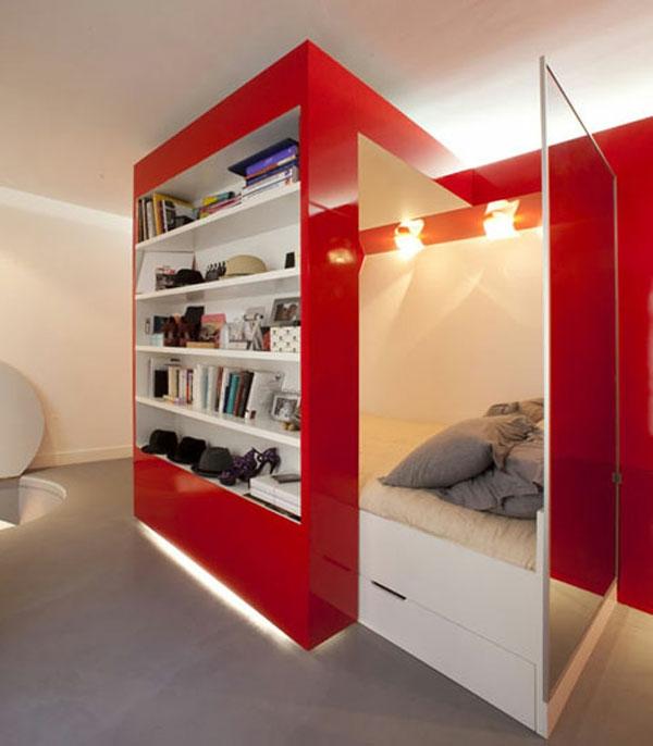 wohnideen-für- kleine-wohnung-elegantes-schlafzimmer-mit-roten-schränken
