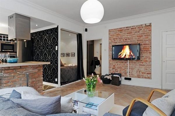 wohnideen-für- kleine-wohnung-schönes-wohnzimmer-design-mit-einem-fernseher