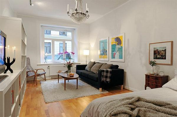 wohnideen-für- kleine-wohnung-schlafzimmer-und-wohnzimmer-kombinieren - das bett ist ganz neben dem wohnzimmer