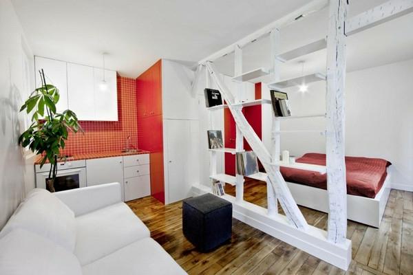 wohnideen-für- kleine-wohnung-schlafzimmer-und-wohnzimmer-zusammenbringen- rot und weiß