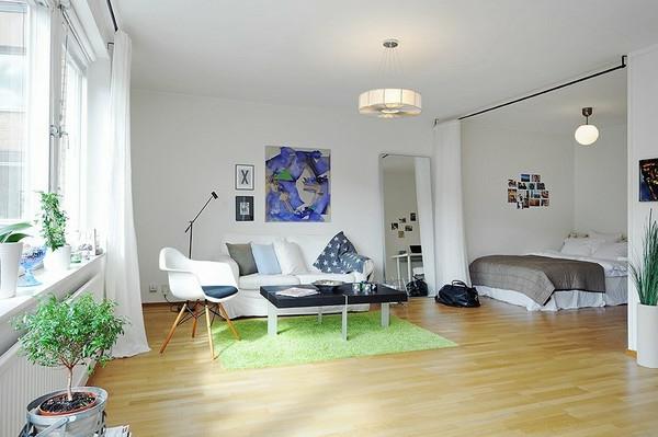wohnideen-für- kleine-wohnung-weißes-wohnzimmer - interessantes bild an der wand