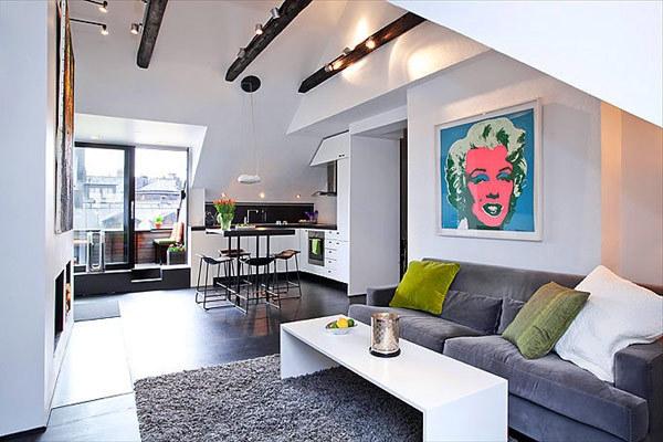 wohnideen-für- kleine-wohnung-wohnzimmer-im-skandinavischen-stil - interessantes bild an der wand