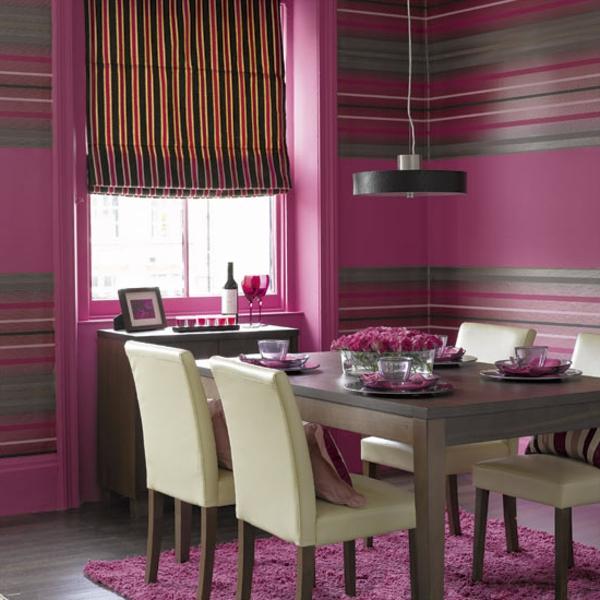 wohnung-dekorieren-esszimmer-in-rosiger-farbe