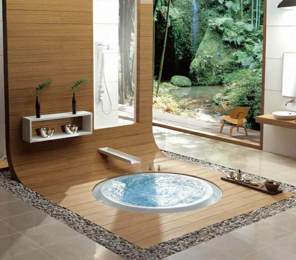wunderschönes-badezimmer-mit-dekosteinen - runder kleiner pool