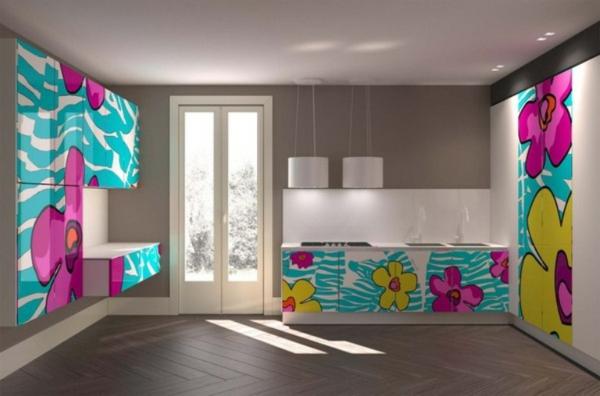 Attraktive-Küchengestaltung-bunte-Farben-Ideen