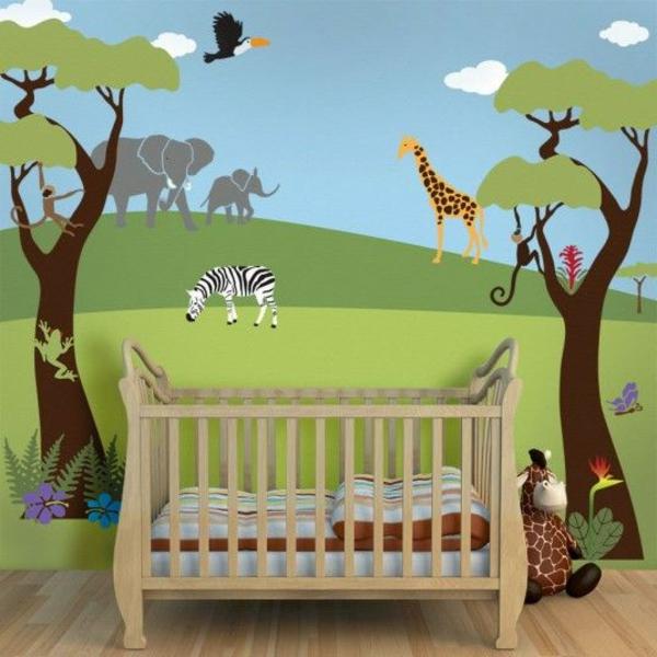 Babyzimmer-Dekoration-Wandgestaltung-Dschungelthema