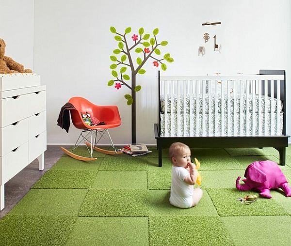 Babyzimmergestaltung-mit-einem-grünen-Teppich