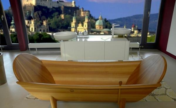 Badewanne-aus-Holz-luxuriöses-Design-im-Badezimmer