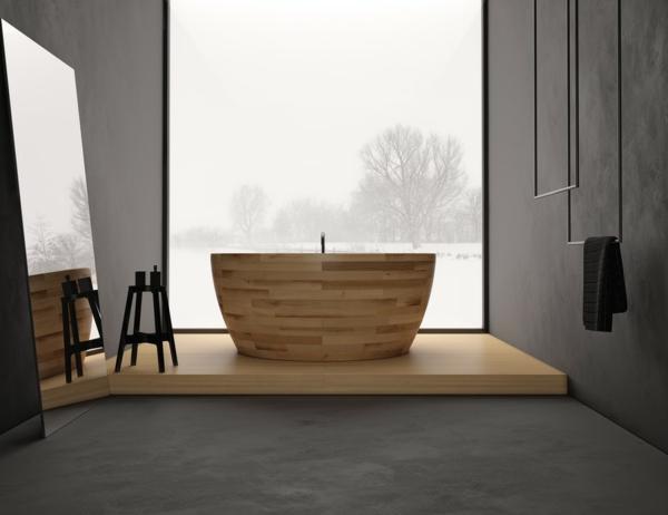 Badewannen-aus-Holz-modernes-Design-Idee