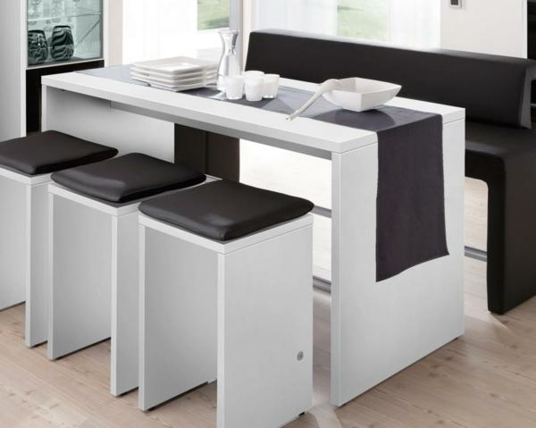 Bartisch-Set-mit-Hocker-in-Weiß-Design
