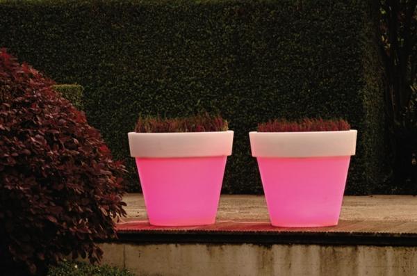 Blumentopf Led Beleuchtung In Rosa Dekoideen