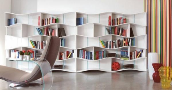 Bucherregaldesign Idee Wohnzimmer Praktisches Bücherregal Für ...