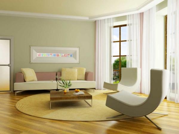 wohnzimmer hellgelb:Designideen-für-das-Wohnzimmer-gelb-Teppich-rund