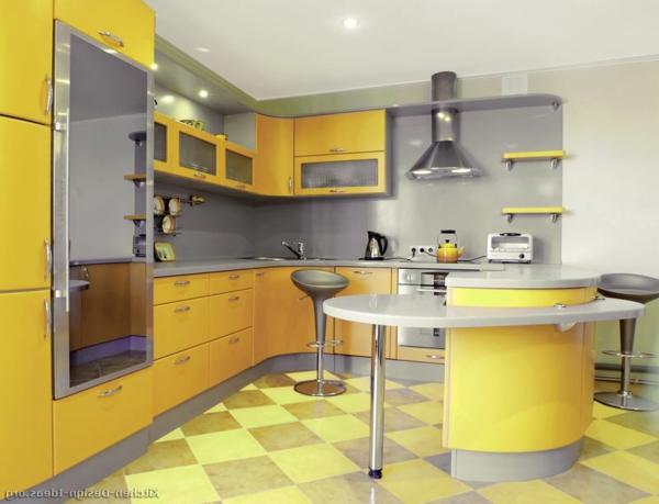 Effektvolle-Küchengestaltung-in-Gelb-Design-Idee