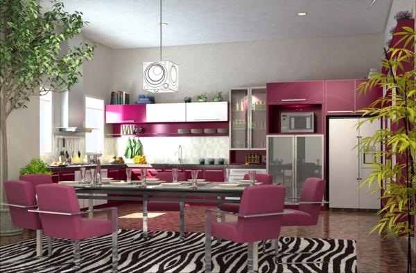 Effektvolle-Küchengestaltung-in-Rosa-Design
