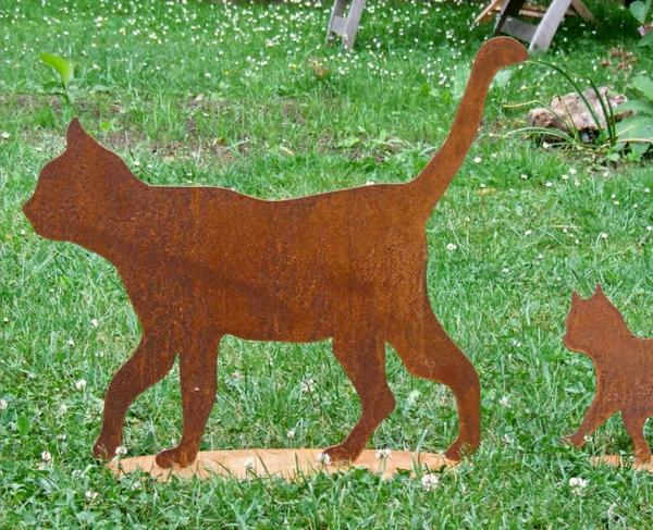 Gartendeko-Edelrost-Katzen-Idee