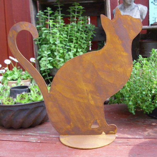 Gartendeko-Ideen-Katze-Edelrost-Figuren-aus-Rost
