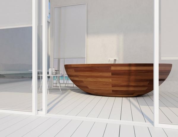 Holzbadewanne-Wallnuss-Design-weißes-Badezimmer
