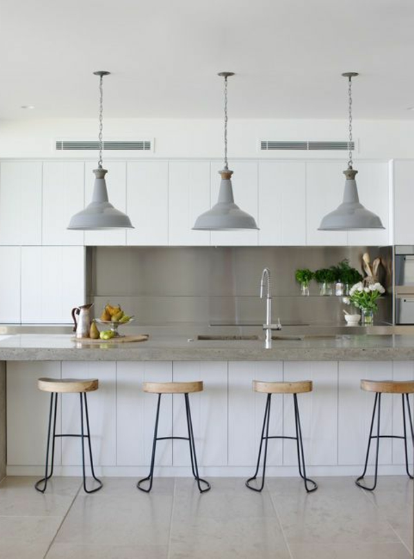 Interior Design Küche Bar Mit Hockern Aus Holz