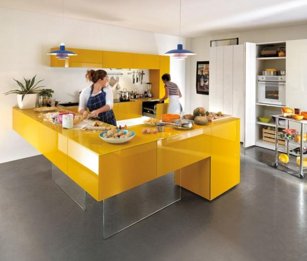 Küchengestaltung-mit-Farbe-Gelb-Idee