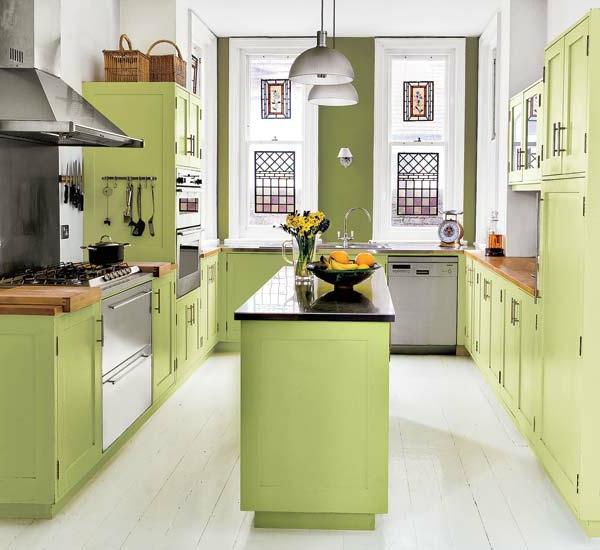 Küchengestaltung-mit-Farbe-Grün-Design-Idee