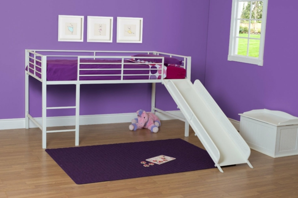 Kinderbetten-mit-Rutsche-Lila-Kinderzimmer