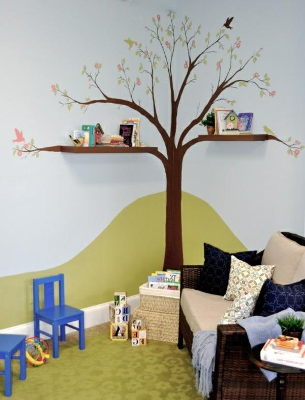 Kinderzimmer-Bücherregal-wie-einen-Baum-gestaltet