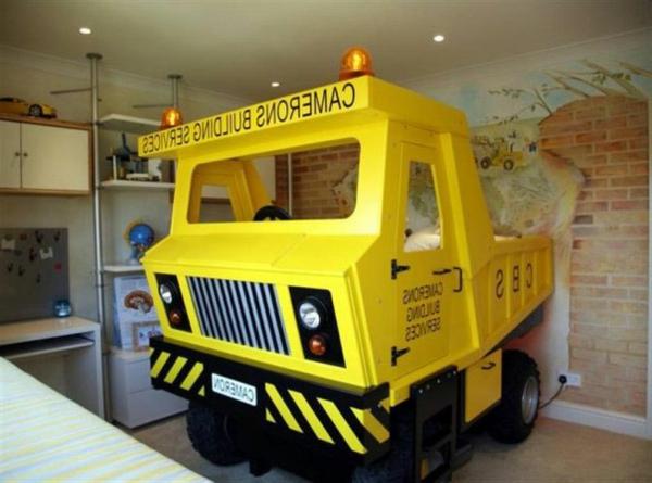 Lkw-Ideen-Bett-Kinderzimmer-Gelb
