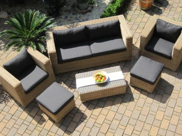 Lounge-Wohnlandschaft-Sofa-2-Sessel-Tisch-2-Hocker-Rattan-Polyrattan-Geflecht-Gartenmbel-natur-beige-braun-