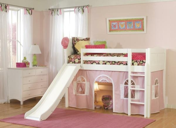 Mächenzimmer-Kinderzimmer-Betten-mit-Rutsche