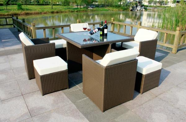 moderne-Polyrattan-Möbel-Set-Gartenmöbel