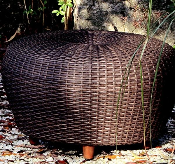 Polyrattan-Möbelstück-Hocker-rund