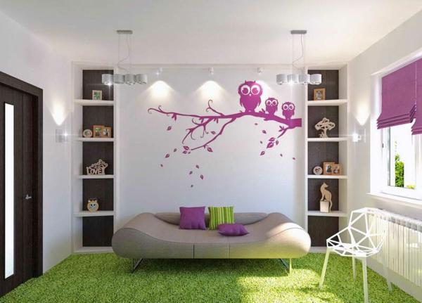 Schlafzimmer-Design-Mädchenzimmer-Teppich-in-Grün