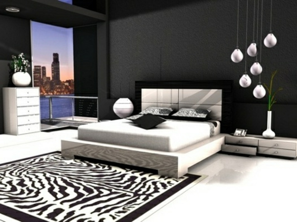 schlafzimmer deko schwarz wei. Black Bedroom Furniture Sets. Home Design Ideas