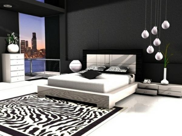 Schwarz-Weiß-Teppich-im-Schlafzimmer