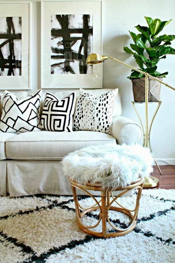 Schwarz-weißer-Teppich-Wohnzimmer